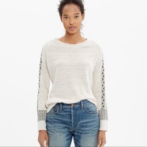 Madewell Embroidered Geometry Ivory Linen Sweater